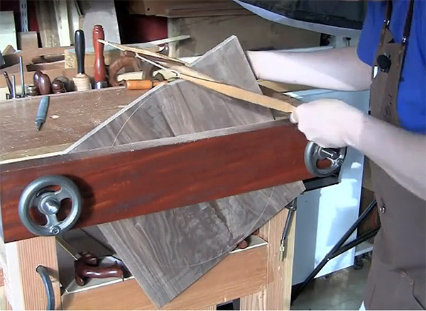 sawing the round top