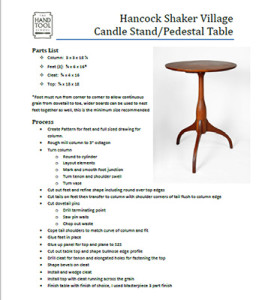 Pedestal Table Parts list